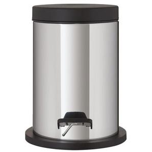 Sealskin Metropolitan Poubelle à pédale 25.8x20x22.3cm 3 litres Rond acier inoxydable noir 361942419