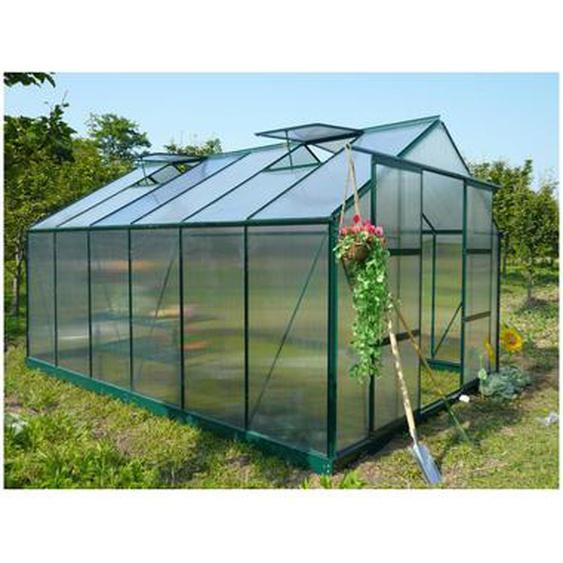Serre de Jardin en polycarbonate de 13m² KALIDA avec embase - vert
