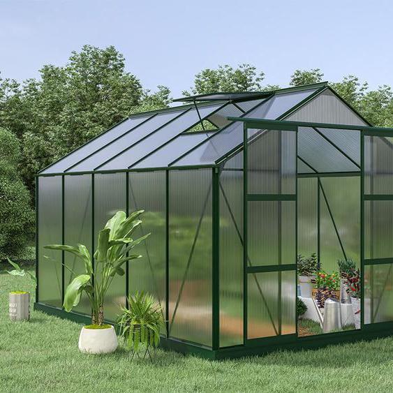 Serre de Jardin en polycarbonate de 9 m² COROLLE II avec embase - vert