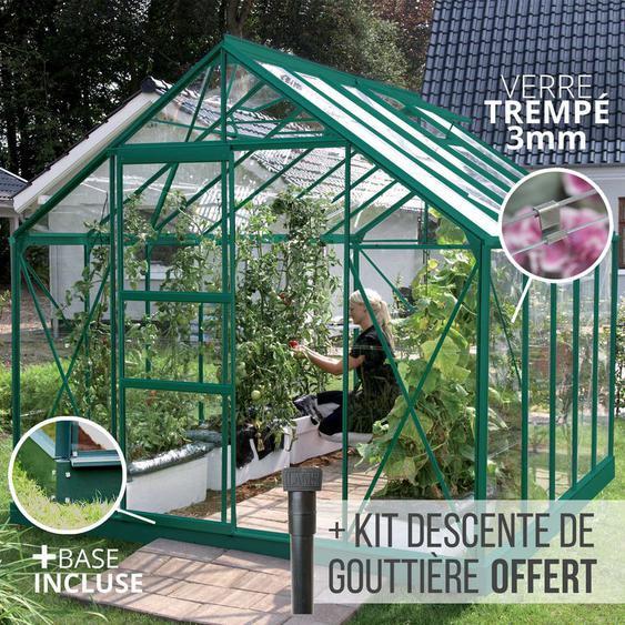 Serre en verre trempé 3 mm CARVI 8,25 m² - Verte - JARDIMAGINE