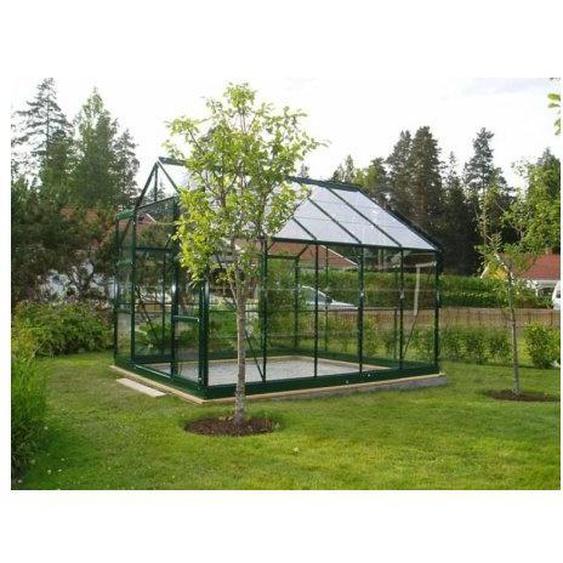 Serre en verre trempé 4 mm modèle 108 + Base - 7,5 m² - Aluminium peint vert - LA MAISON DU JARDIN