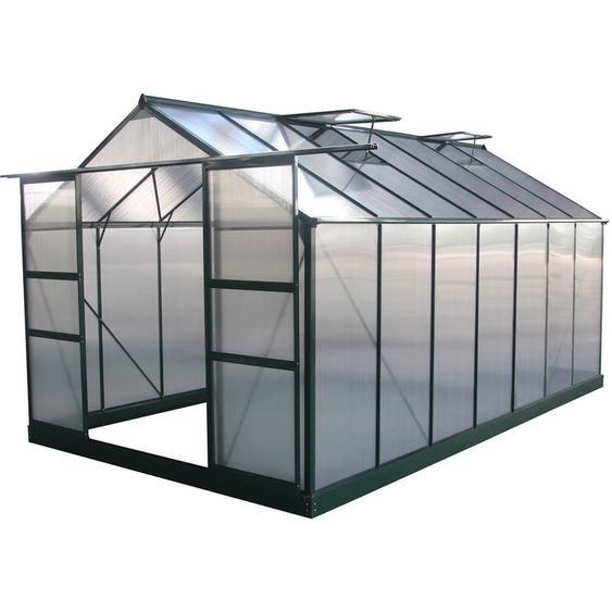 Serre jardin polycarbonate Dahlia Vert Sapin 13,29 m² - HABITAT ET JARDIN