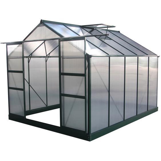 Serre jardin polycarbonate Dahlia Vert Sapin 7,67 m² - HABITAT ET JARDIN
