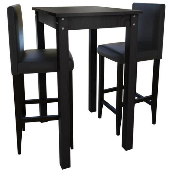 Set de 1 table de bar et 2 tabourets noir