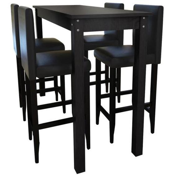 Set de 1 table de bar et 4 tabourets noir