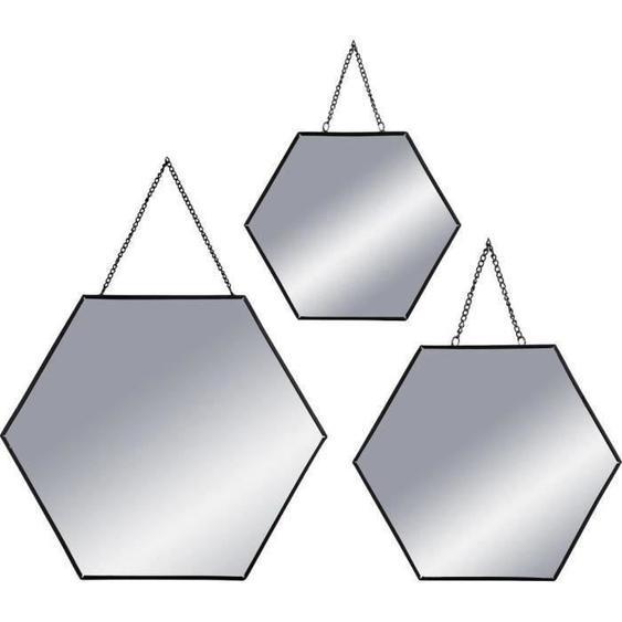 Set de 3 Miroirs hexagonaux à suspendre en métal - Noir