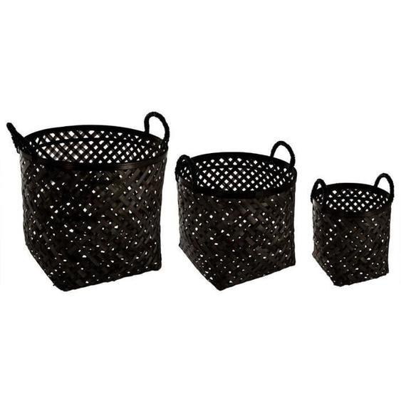 Set de 3 paniers en bambou - Noir