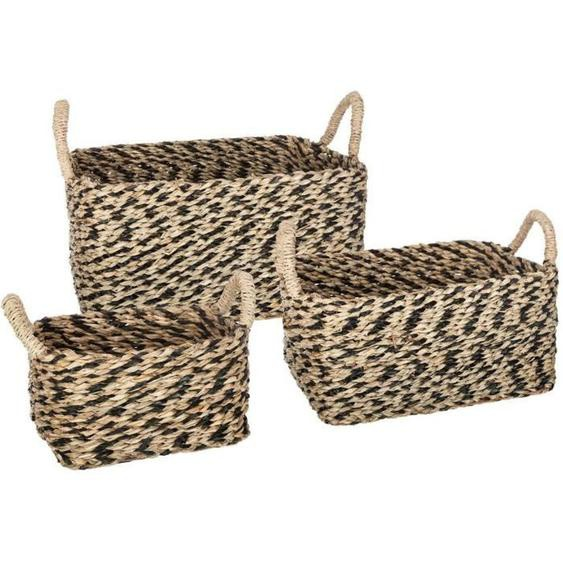 Set de 3 paniers rectangulaires en seagrass - Multicolore