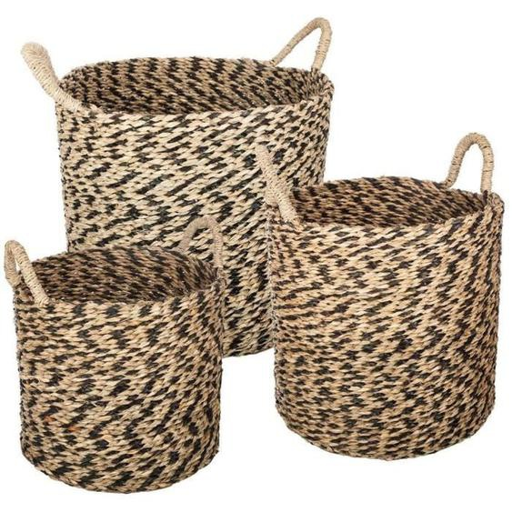 Set de 3 paniers ronds en seagrass - Multicolore