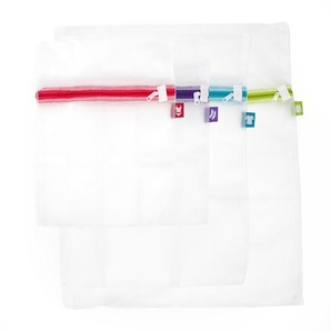 Set de 4 filets de lavage en 3 tailles dans 4 coloris : bleu rose vert et violet