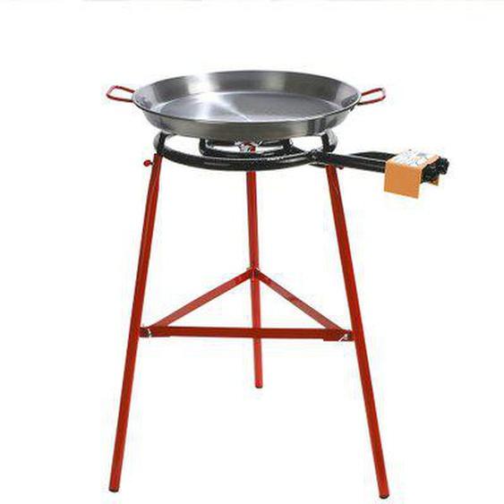 Set paëlla grillades plancha PALMA noir acier réchaud 40cm + plat 50cm