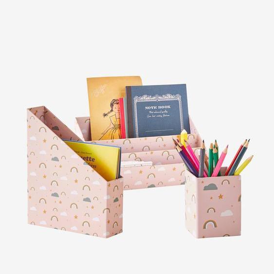 Set rangement bureau Happy rose moyen imprime