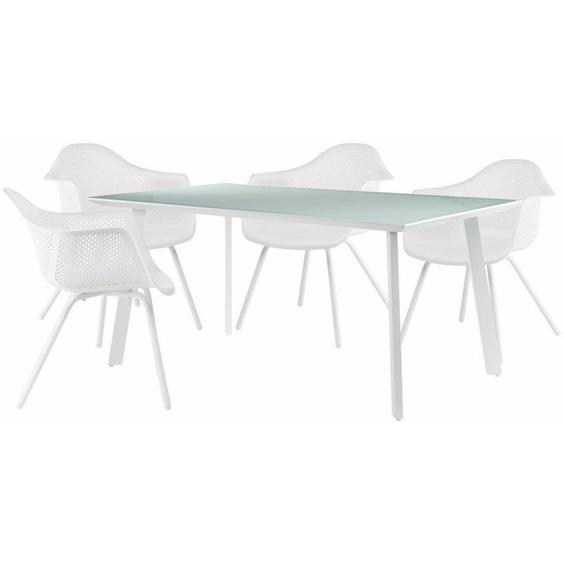 Ensemble Table Adel & 4 Chaises avec accoudoires Adel Blanc - Blanc - Sklum