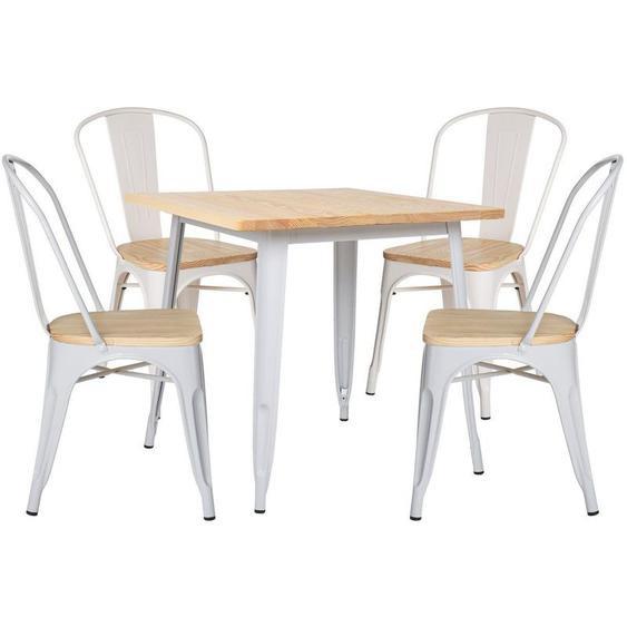 Lot de Table LIX Bois (80x80) & 4 Chaises LIX Bois Blanc - Blanc - Sklum