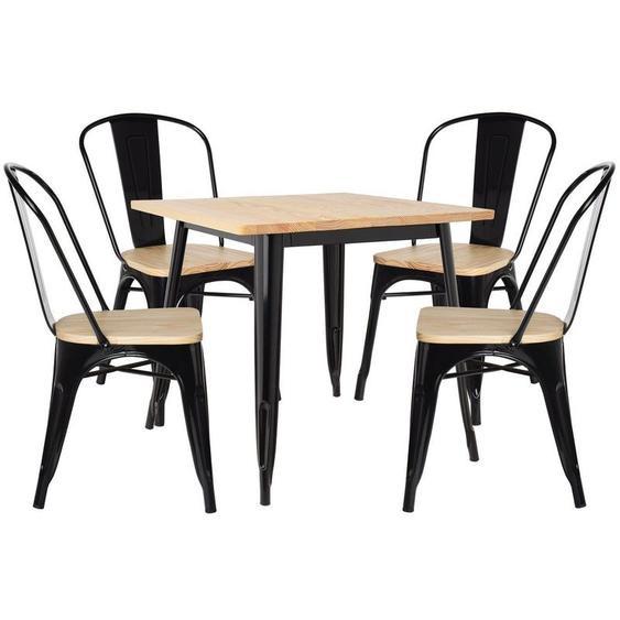 Lot de Table LIX Bois (80x80) & 4 Chaises LIX Bois Noir - Noir - Sklum