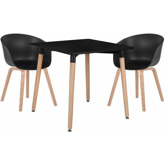 SKLUM Lot de Table Royal (80x80) & 2 Chaises Yäh Bois Noir - Noir