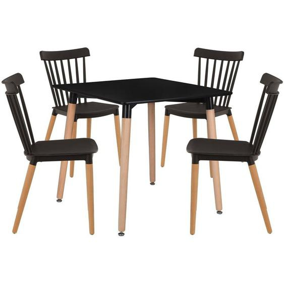 SKLUM Lot de Table Royal (80x80) & 4 Chaises Royal Noir - Noir
