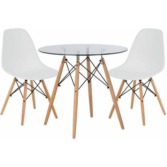 SKLUM Lot de Table Scand Ø80 & 2 Chaises Scand Blanc Noir/Bois Naturel - Blanc Noir/Bois Naturel