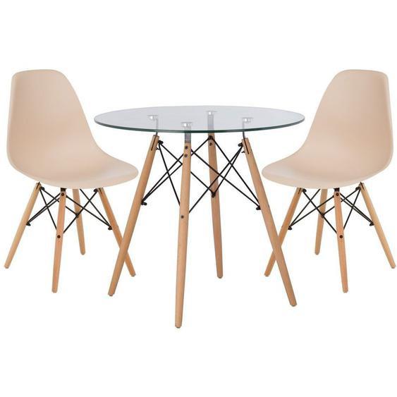 Lot de Table Scand Ø80 & 2 Chaises Scand Brun Blé Noir/Bois Naturel - Brun Blé Noir/Bois Naturel - Sklum