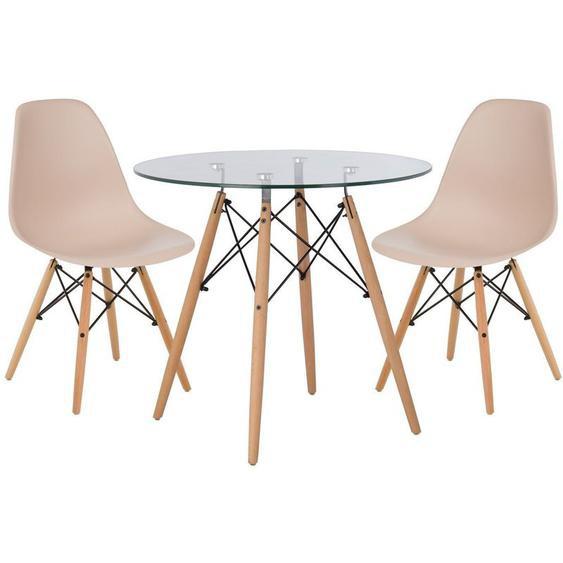 Lot de Table Scand Ø80 & 2 Chaises Scand Brun Moka Noir/Bois Naturel - Brun Moka Noir/Bois Naturel - Sklum