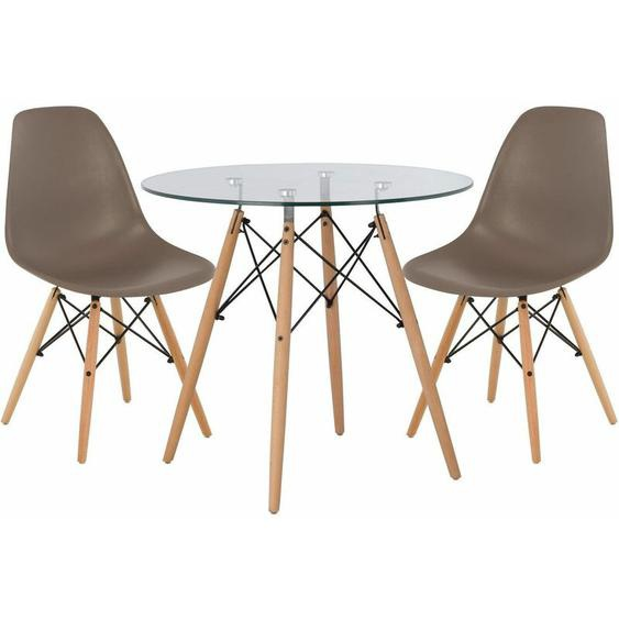 Lot de Table Scand Ø80 & 2 Chaises Scand Gris Taupe Noir/Bois Naturel - Gris Taupe Noir/Bois Naturel - Sklum