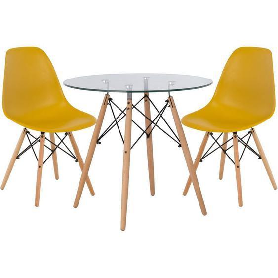 Lot de Table Scand Ø80 & 2 Chaises Scand Jaune Curri Noir/Bois Naturel - Jaune Curri Noir/Bois Naturel - Sklum