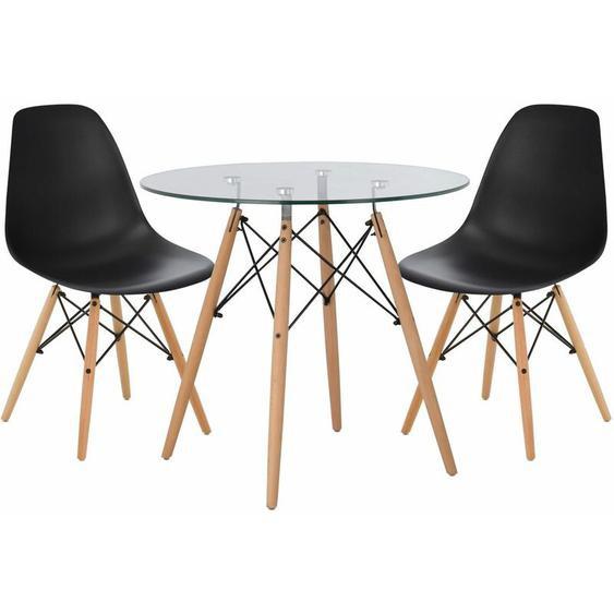 SKLUM Lot de Table Scand Ø80 & 2 Chaises Scand Noir Noir/Bois Naturel - Noir Noir/Bois Naturel
