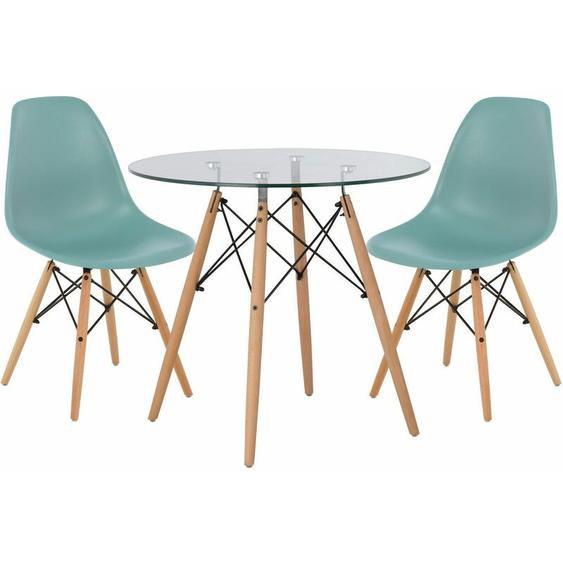 Lot de Table Scand Ø80 & 2 Chaises Scand Vert Sapin Noir/Bois Naturel - Vert Sapin Noir/Bois Naturel - Sklum