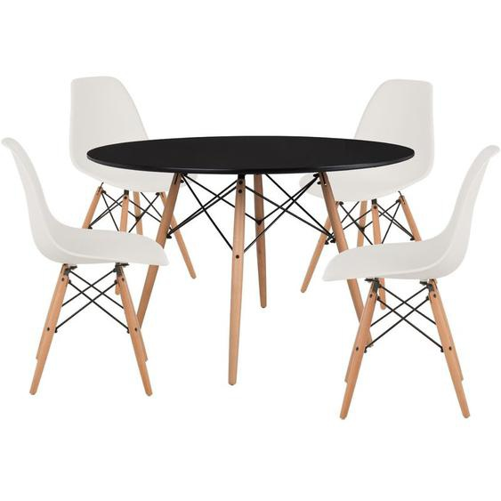 Pack 4 Chaises & Table Scand Ø120 Blanc Noir - Blanc Noir - Sklum