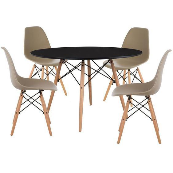 Pack 4 Chaises & Table Scand Ø120 Gris Taupe Noir - Gris Taupe Noir - Sklum