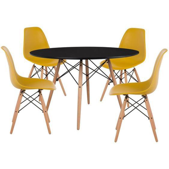 SKLUM Pack 4 Chaises & Table Scand Ø120 Jaune Curri Noir - Jaune Curri Noir