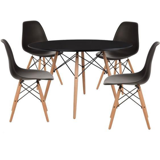 Pack 4 Chaises & Table Scand Ø120 Noir Noir - Noir Noir - Sklum