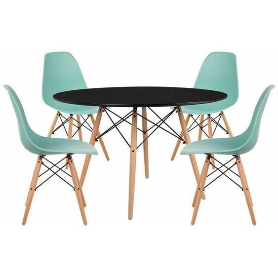 SKLUM Pack 4 Chaises & Table Scand Ø120 Vert Jade Noir - Vert Jade Noir