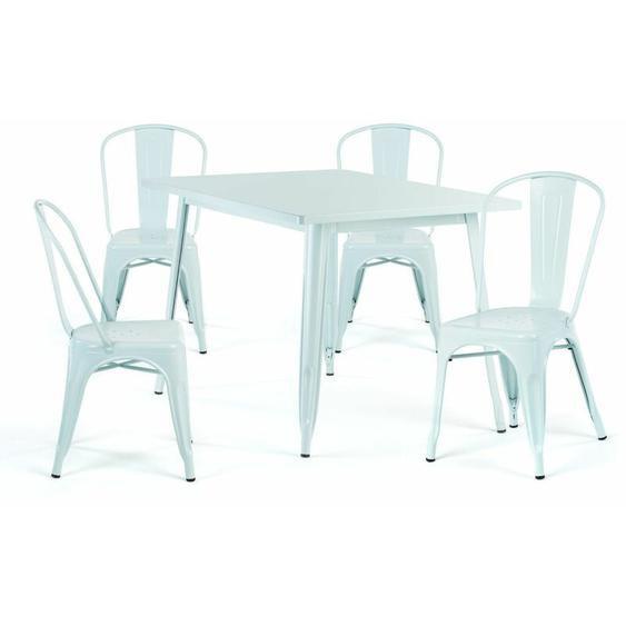 SKLUM Pack Table Lix 120x80 Mate & 4 Chaises Lix Mate [EXTÉRIEUR] Bleu Eau Acier - Bleu Eau