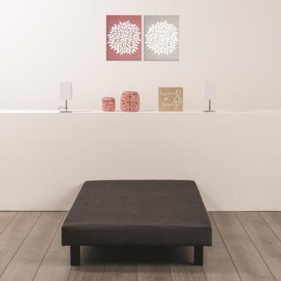 Sommier tapissier à lattes 90 x 190 - Bois massif gris anthracite + pieds bois verni clair - DEKO DREAM Rakenne