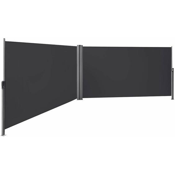 Songmics - Store latéral abri soleil 180 x 600cm latéral rétractable extérieur brise vue pour terrasse Certifié par TÜV SÜD Gris GSA360G - anthracite