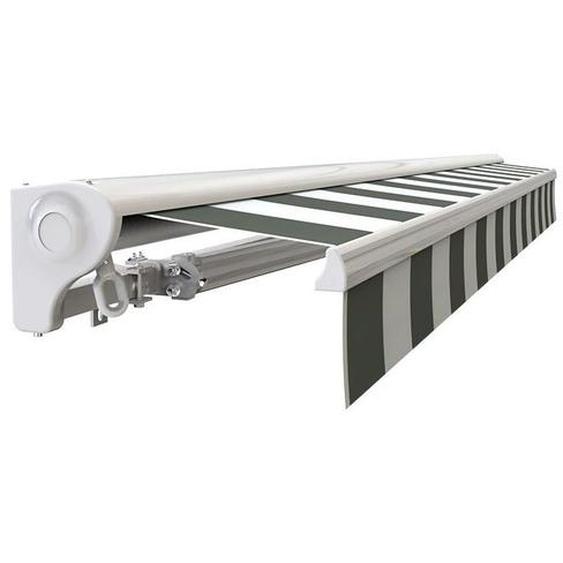 Store banne Demi coffre motorisé et manuel pour terrasse - Blanc gris - 2,5 x 2 m