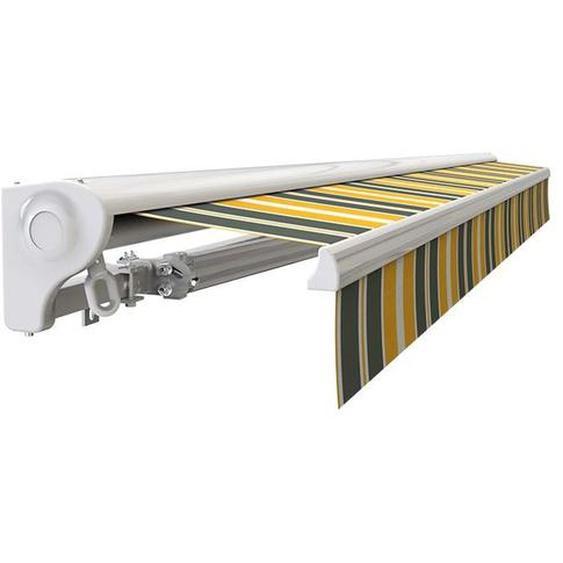 Store banne Demi coffre motorisé et manuel pour terrasse - Gris jaune - 3,6 x 3 m - SUNNY INCH ®