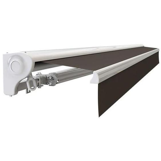 Store banne Demi coffre motorisé et manuel pour terrasse - Taupe - 4 x 3 m - SUNNY INCH ®