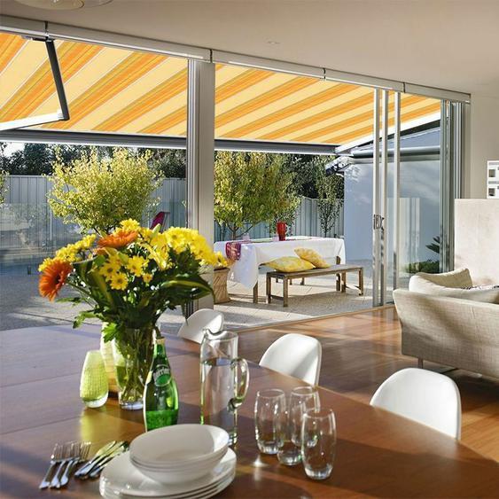 Store banne extérieur coffre intégral motorisé et manuel pour terrasse - Jaune rayé - 3,5 x 3 m