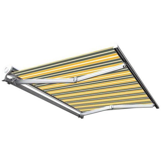 Store banne manuel Demi coffre pour terrasse - Gris jaune - 4 x 3 m - Gris jaune - SUNNY INCH ®