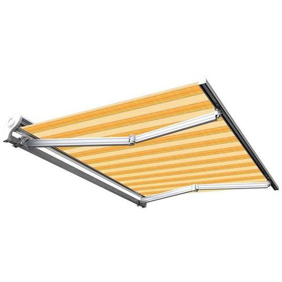 Store banne manuel Demi coffre pour terrasse - Jaune rayé - 3 x 2,5 m - Toscane - SUNNY INCH ®