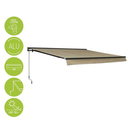 Store banne - Shado 4x3m Taupe - Semi-coffre aluminium, système manuel, store de terrasse largeur 395cm, toile polyester enduite 280g, ombrage mural - ALICES GARDEN