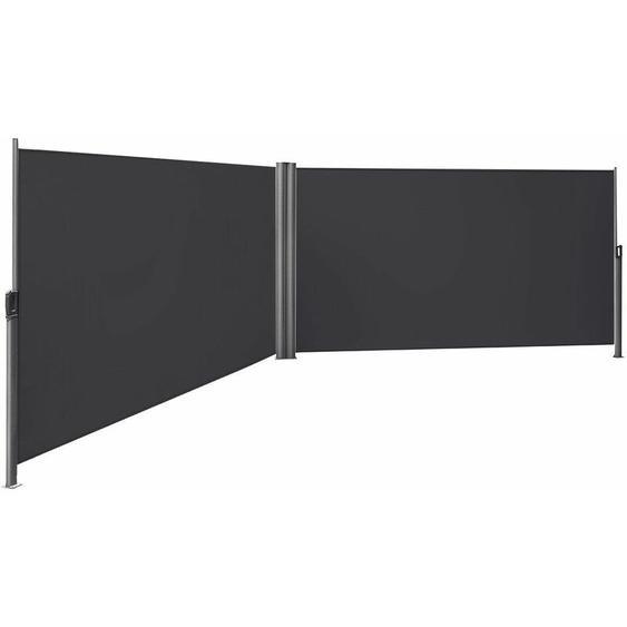 Songmics - Store latéral abri soleil 160 x 600cm latéral rétractable extérieur brise vue pour terrasse Certifié par TÜV SÜD Gris GSA320G - anthracite