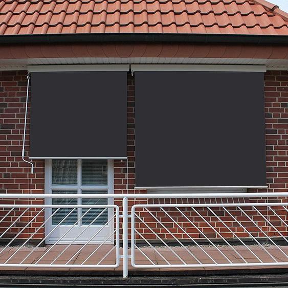 Store vertical enrouleur extérieur pour terrasse ou balcon - 1,4 x 2,5 m - Blanc laqué - Gris anthracite - SUNNY INCH ®