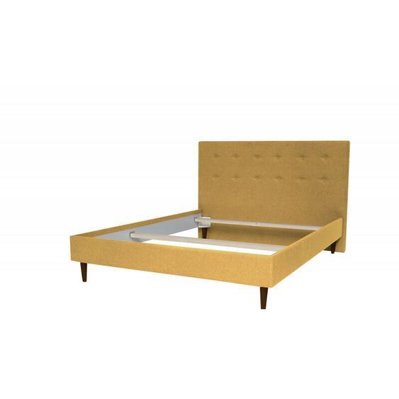 Structure de lit RORY pieds bois wengé 140 x 190 cm 140x190 Jaune moutarde - BOBOCHIC