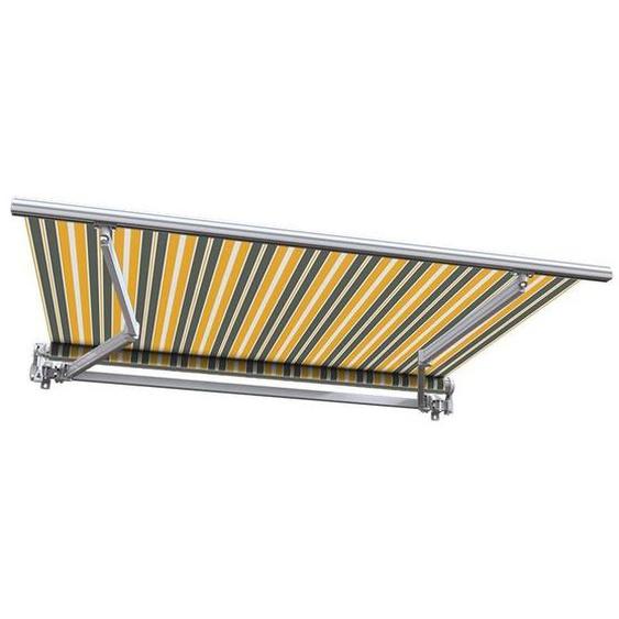 Store banne manuel Monobloc pour terrasse - Gris jaune - 3,6 x 3 m