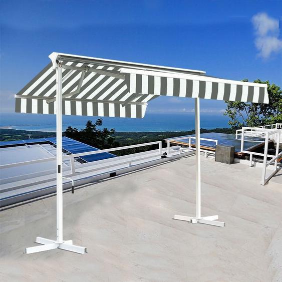 Stores double pente sur pied avec coffre - Blanc Gris - 3,5 x 3 m - SUNNY INCH ®