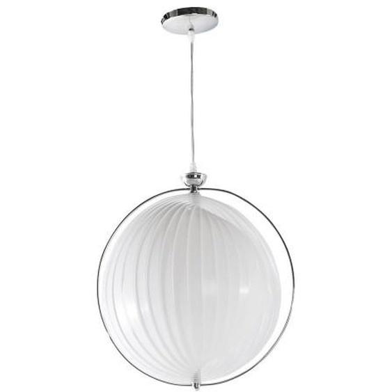Suspension contemporaine ronde à lamelles - Capri - Blanc