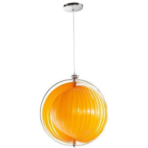 Suspension contemporaine ronde à lamelles - Capri - Orange